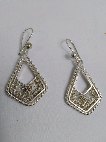 African Triangle Silver Ear Rings