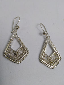 African Triangle Silver Earrings