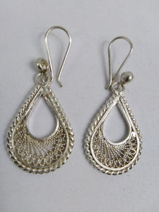 African Semi Circle Silver Earrings