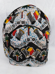 African Djembe Multi Pattern Ankara Backpack Medium