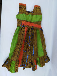 African Green Multi Pattern Kids Dress