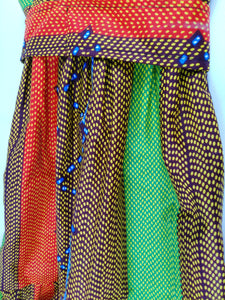 African Light Green Multi Pattern Kids Dress