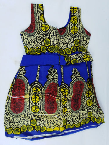 African Print Multi Pattern Kids Dress