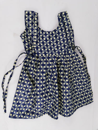 African Blue Squared Multi Pattern Kids Dress