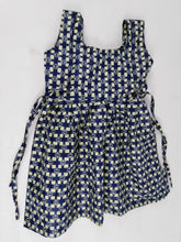 Load image into Gallery viewer, African Blue Squared Multi Pattern Kids Dress
