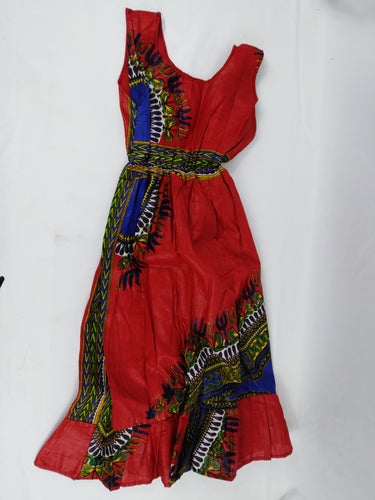 African Red Wine Multi Pattern Kids Dress
