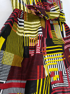 African Lines Multi Pattern Kids Dress