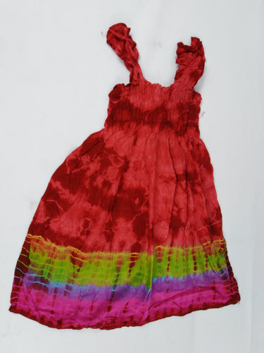 African Rainbow Multi Pattern Kids Dress