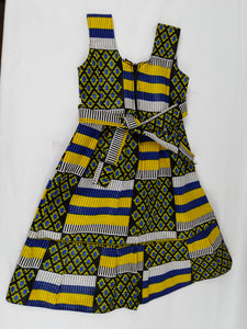 African Tricolor Multi Pattern Kids Dress