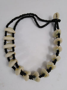 African Cowrie Shell Landscape Necklace