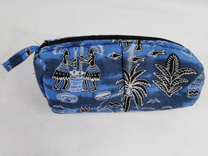 African Authentic Ankara Blue Fishing Village Pouch