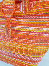 Load image into Gallery viewer, African Eco Orange Mixed Pattern Woven Bag