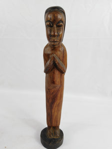 African Praying Woman Wood Statue