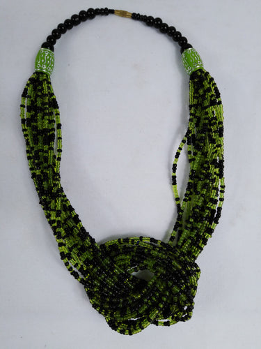 Elegant Green Knotted Beads Necklace