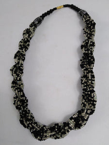 Elegant Black & White Knotted Beads Necklace