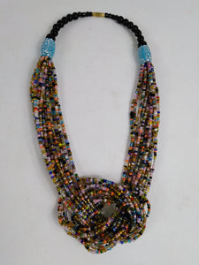 Elegant Multicolor Knotted Beads Necklace
