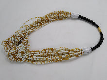 Load image into Gallery viewer, Elegant White & Gold Knotted Beads Necklace