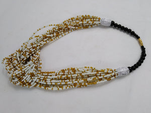 Elegant White & Gold Knotted Beads Necklace