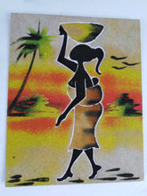 Load image into Gallery viewer, African Village Woman Sand Painting