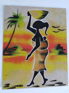 African Village Woman Sand Painting