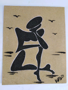 African Thinking Man Sand Painting