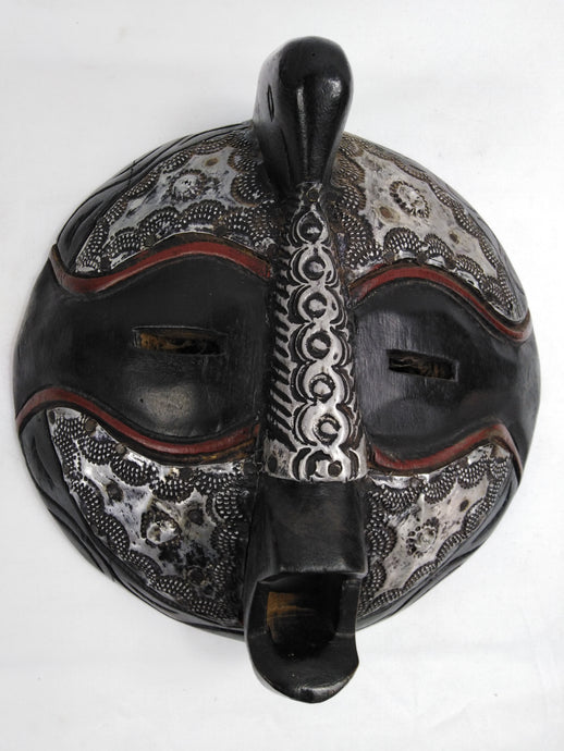 African Round Head Black & Silver Mask