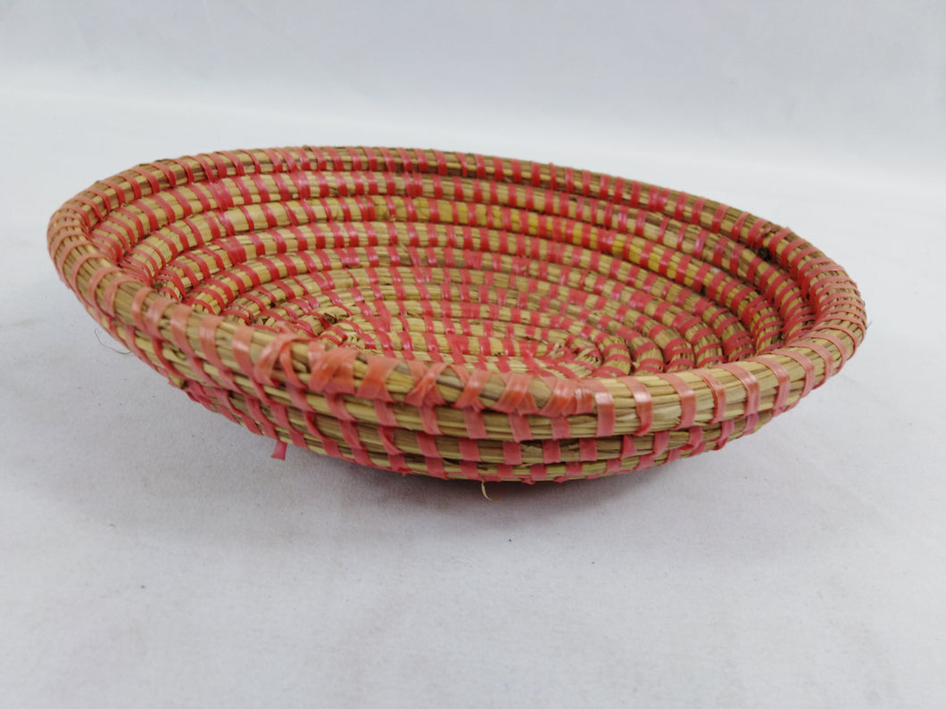 Red Strips African Handmade Traditional Table Basket Small