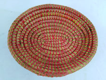 Load image into Gallery viewer, Red Strips African Handmade Traditional Table Basket Small