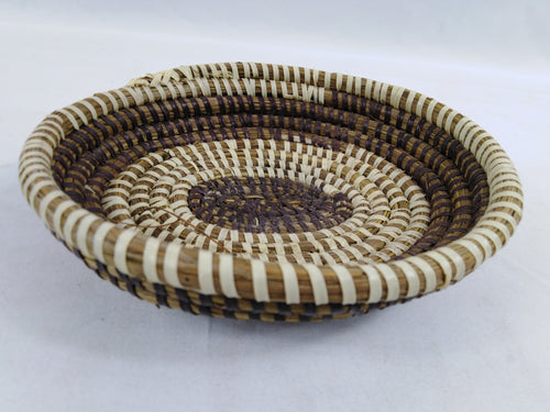Double Color African Handmade Traditional Table Basket Small