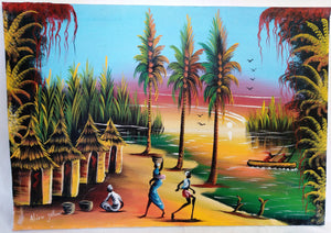 African Village Sunrise Canvas Acrylic Painting