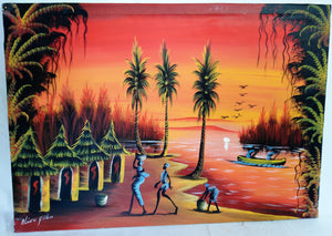 African Village Sunset Canvas Acrylic Painting