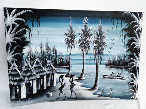 African Village Noire Canvas Acrylic Painting