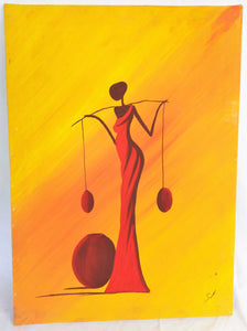 African Lady Carrying Water Canvas Acrylic Painting