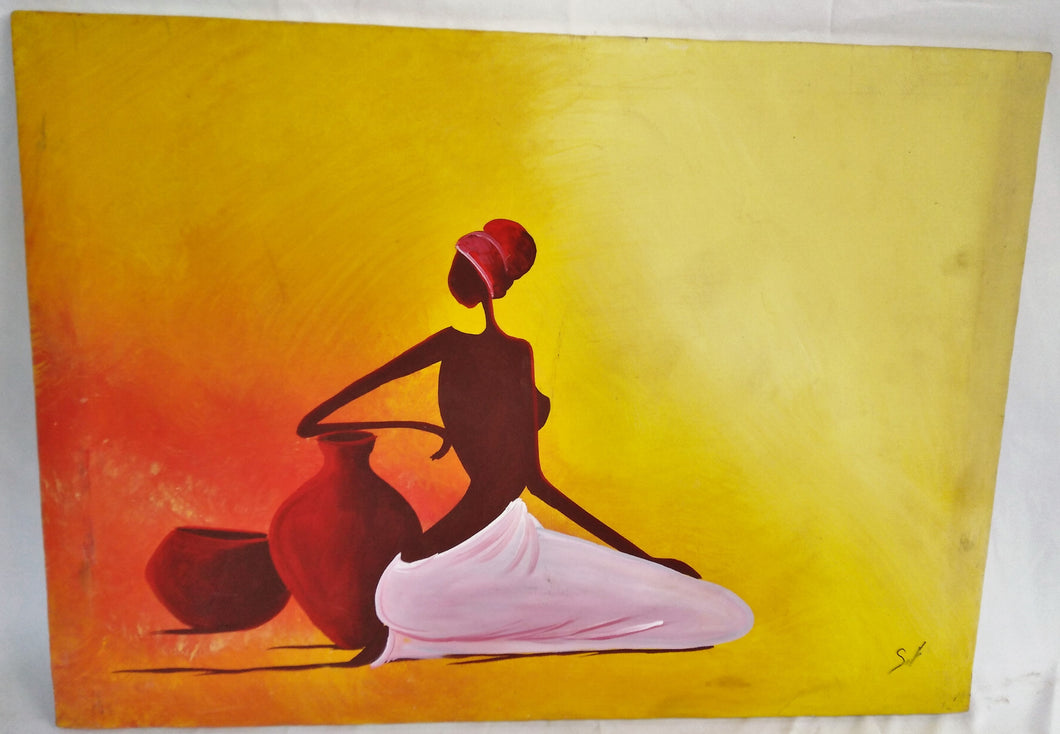 African Lady Kneeling Canvas Acrylic Painting