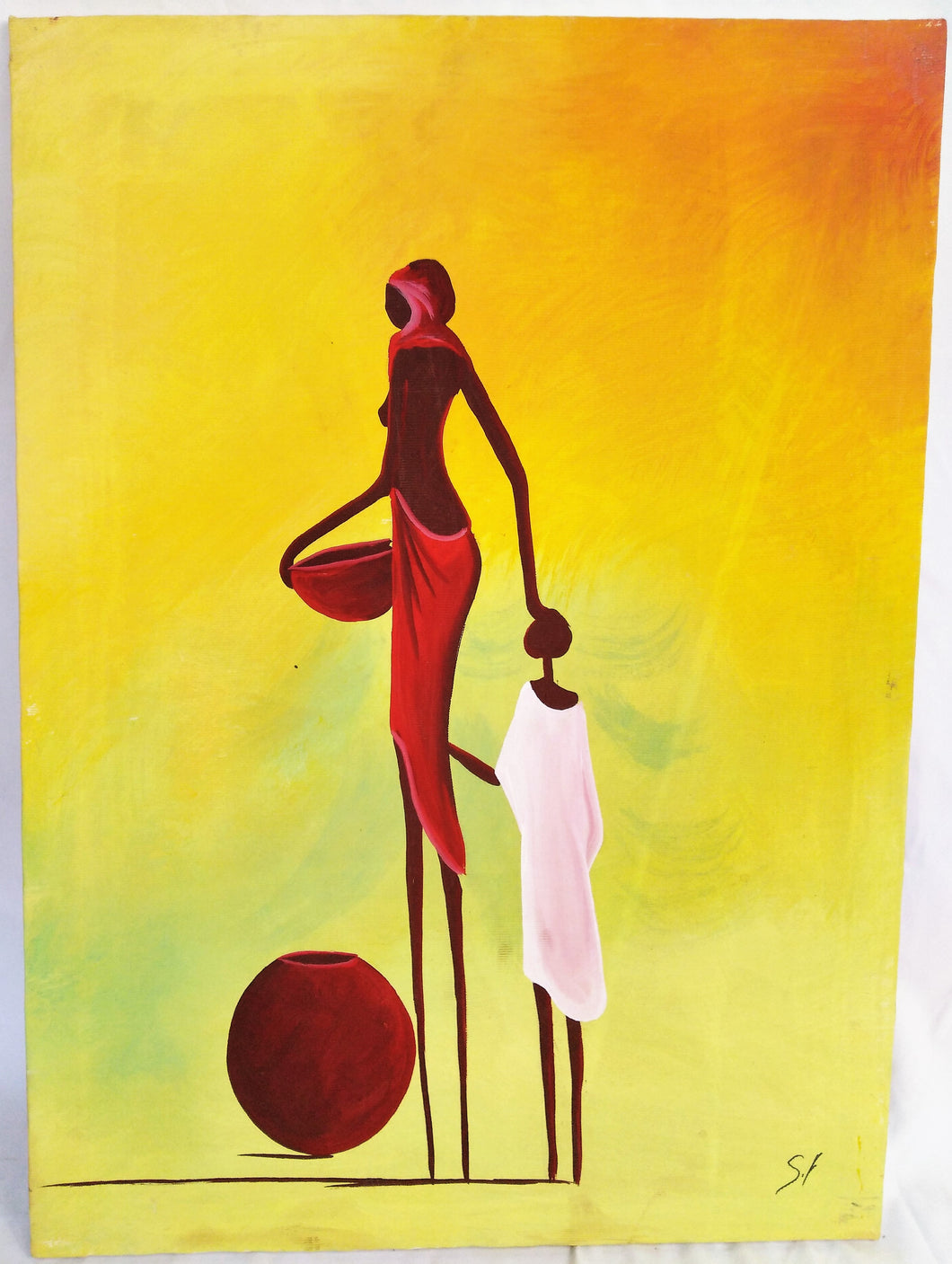 African Mother & Child Canvas Acrylic Painting