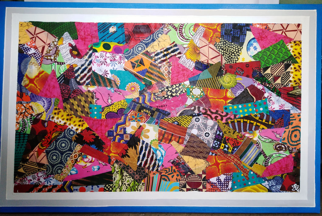 African Textile Collage Canvas  Painting
