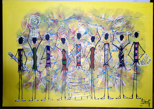 African Women By The Well Canvas Acrylic Painting
