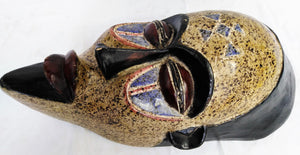 Painted Bearded Warrior Wooden Mask