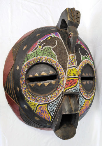 Giant Cyrcle Beaded Colourful Wooden Mask