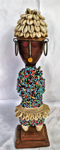 Lady In Cowry Shell Hat Colourful Beaded Wooden Poupe
