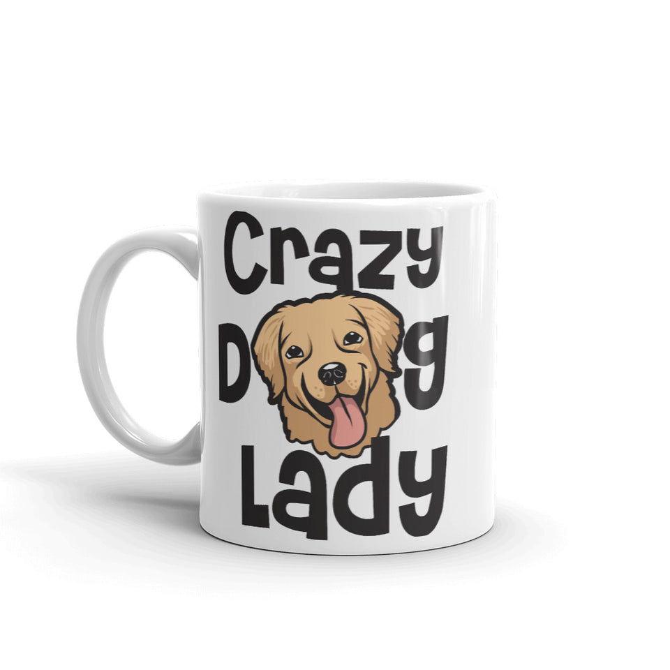High Quality White Crazy Dog Lady Mug, Funny Mug, Ideal Gift for Mom, Dog Walker or Friend