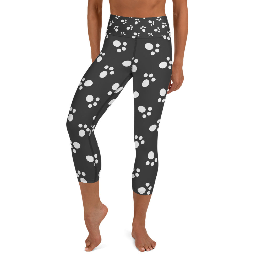 Stylish, Comfortable and Trendy  - Paws All Over You Yoga Capri Leggings, for Real Dog Lovers!