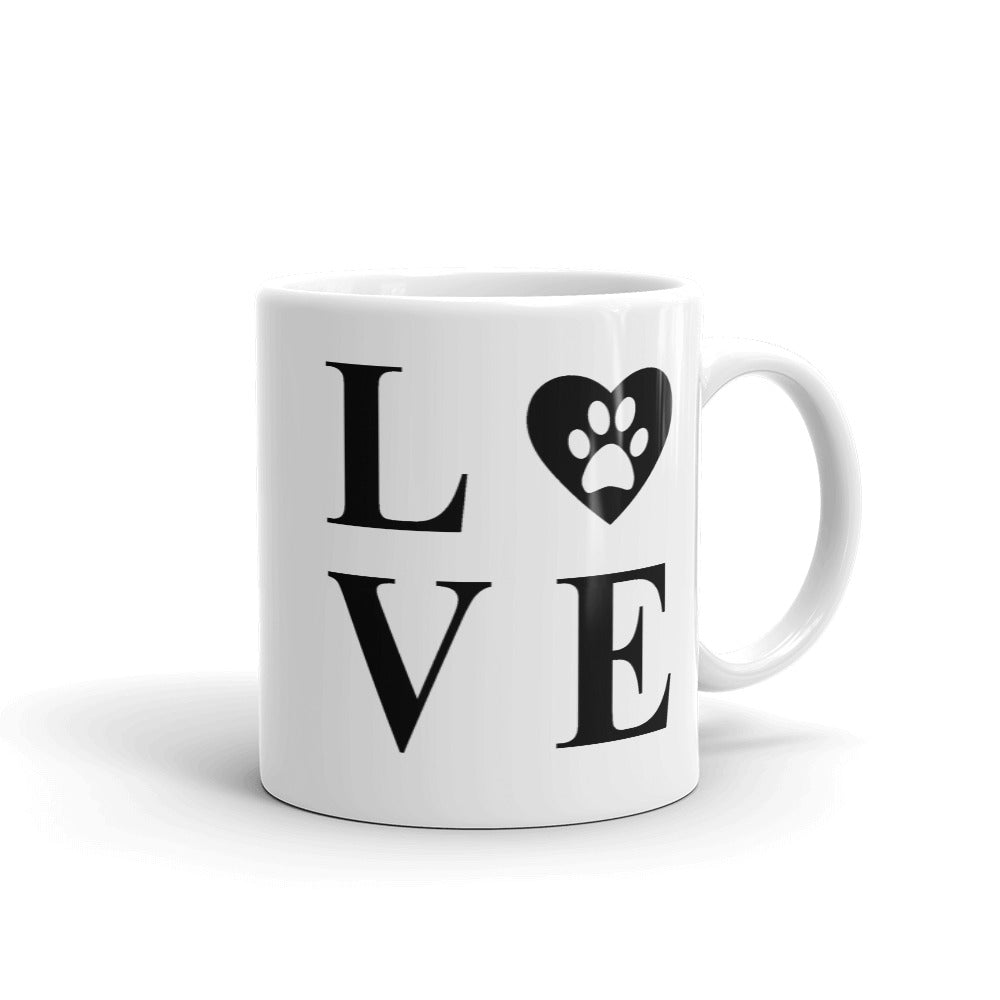 Vintage and Evergreen Dishwasher and Microwave Safe Heart Dog Footprint Puppy Love Mug