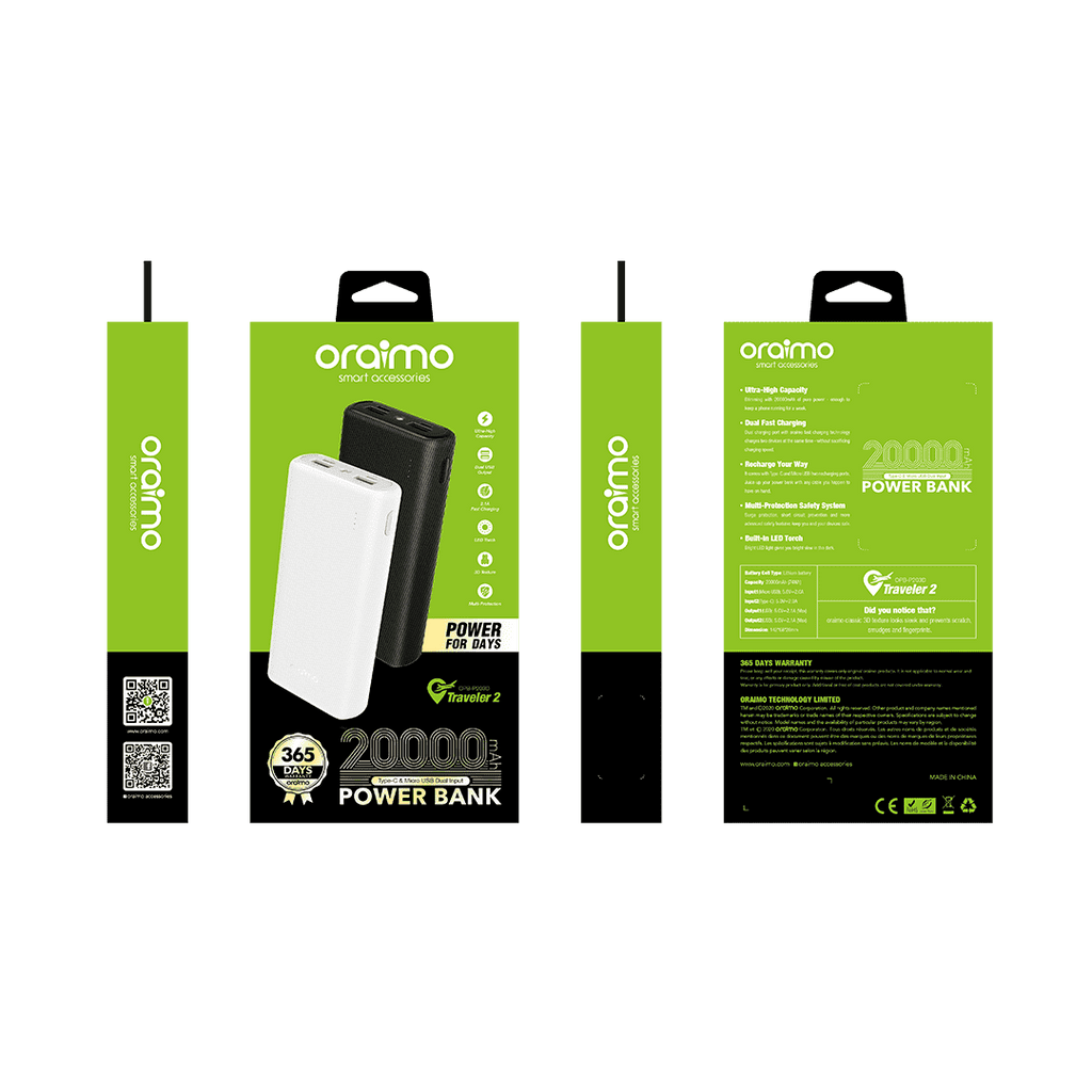 ORAIMO TRAVELER 2 - 20,000mAh POWER BANK - OPB-P203D