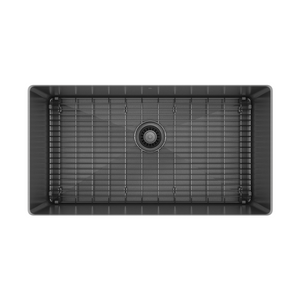 "Prochef single bowl undermount kitchen sink with bottom grid ProInox H75 black stainless steel, 30"" X 16"" X 10"""
