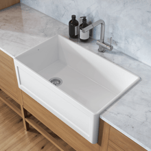 "Load image into Gallery viewer, Prochef Single Bowl Reversible Farmhouse Kitchen Sink ProTerra M40 White Fireclay, 31 1/4"" x 17 1/2"" x 10"""