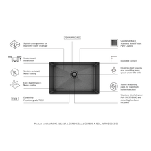 "Load image into Gallery viewer, Prochef single bowl undermount kitchen sink ProInox H75 black stainless steel, 25"" X 16"" X 10"""