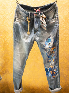 Jeans Blue Butterflies