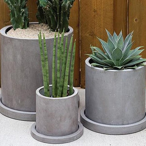 CEMENT OUTDOOR POTS WITH SAUCER
