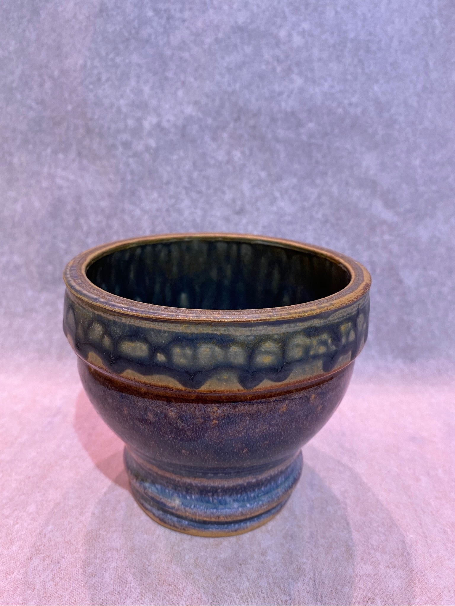 BLUE HAND THROWN VASE